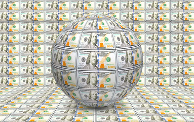 image of the globe made of banknotes close up