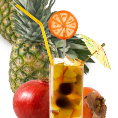 Fototapete - Image of cocktail and tropical fruits isolated on white background