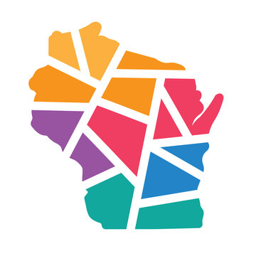 colorful geometric Wisconsin map- vector illustration