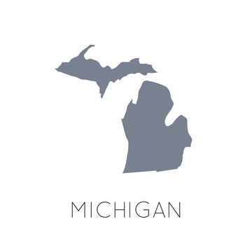 High detailed vector map - United States of America. Map with state boundaries. Michigan vector map silhouette
