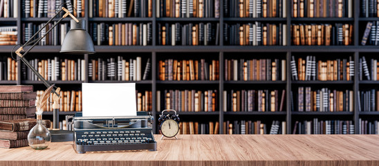 Office desk with old typewriter and Bookshelves in the library with old books 3d render 3d...