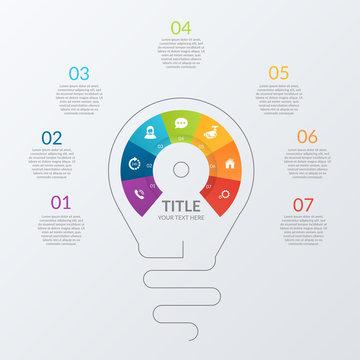 Rainbow light bulb infographic EPS10.Vector