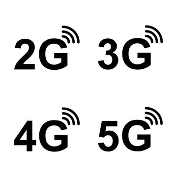 5G, 4G, 3G, 2G vector symbol set isolated on background - new mobile communication technology and smartphone network icons for website, ui, mobile app, banner. 10 eps
