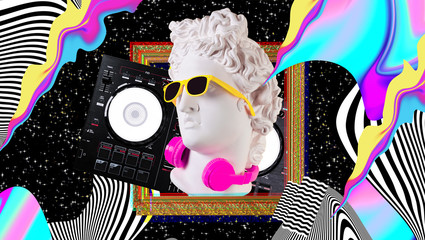 Apollo in headphones and sunglasses on a cosmic background. Concept art collage. Poster design.