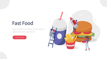 People Characters in Fast Food Restaurant. Women and Men Eating Burger, French Fries and Drinking Soda. Workers and Customers in Food Court Cafe. Fastfood Concept. Flat Isometric Vector Illustration.
