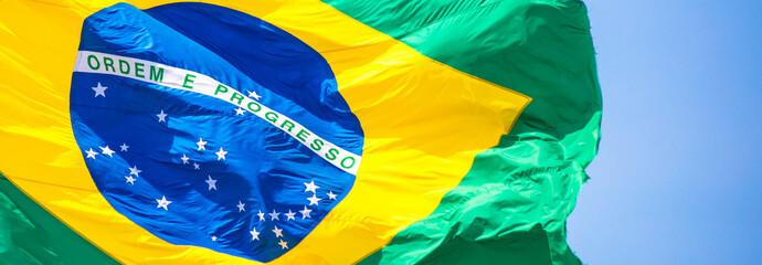 Poster Brésil Bandeira do Brasil ao vento