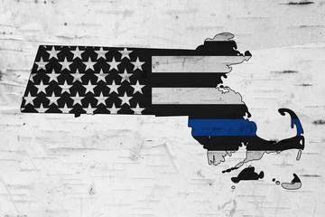American thin blue line flag on map of Massachusetts