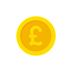 British Pound golden coin. Flat icon isolated on white. Vector illustration