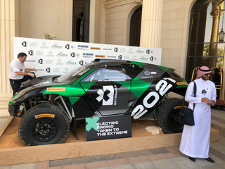 Electric race car is displayed during the Future Investment Initiative conference in Riyadh