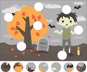 Cartoon scary zombie and gravestone. Complete the puzzle and find the missing parts of the picture. Game for kids