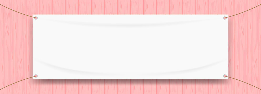 vinyl banner blank white isolated on pastel wood frame, white mock up textile fabric empty for banner advertising stand hanging, indoor outdoor fabric mesh vinyl backdrop for presentation frame poster