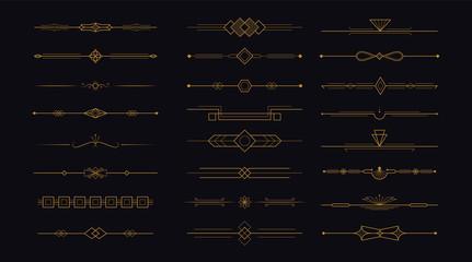 Golden art deco divider header set. Gold retro artdeco border 1920s decorative ornaments, minimal elegant frames creative template design