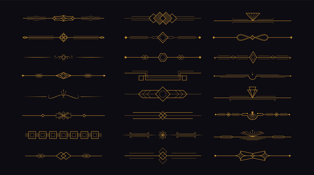 Golden art deco divider header set. Gold retro artdeco border 1920s decorative ornaments, minimal elegant frames creative template design