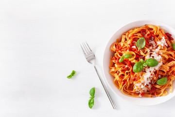Fototapete - tagliatelle pasta with tomato sauce parmesan basil