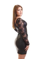 Beautiful plus size model in black dress