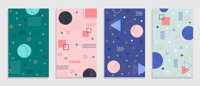 Memphis geometric background with abstract shapes. Graphic pattern, texture for poster, card, social media covers. Funky abstract memphis pattern. Geometry banner in retro style. vector