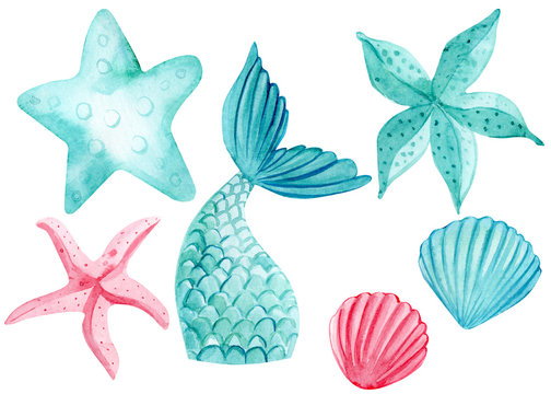 set of watercolor drawings, starfish, fishtail, mermaid on an isolated white background, watercolor illustration
