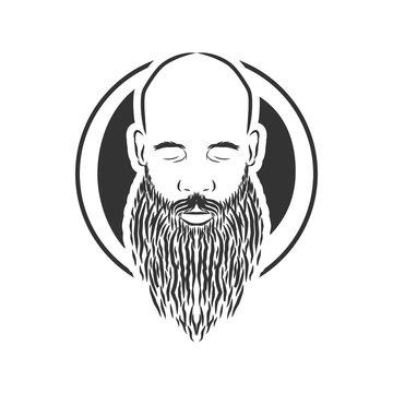 bald man with beard, vintage style vector