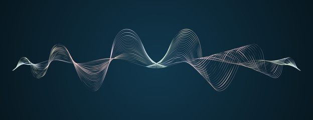 Waveform smooth curved lines Abstract design element Technological dark background with a line in waveform Stylization of a digital equalizer Smooth flowing wave lines soundwave Vector graphic