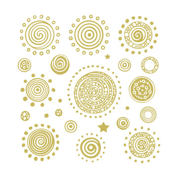 Sun. Hand drawn sun vector illustrations set. Abstract sun, planets and stars sketch drawing. Part of set.