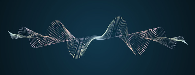 Autocollant pour porte Abstract wave Soundwave smooth curved lines Abstract design element Technological dark background with a line in waveform Stylization of a digital equalizer Smooth flowing wave lines soundwave Vector graphic
