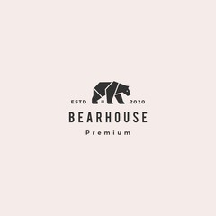 bear house logo hipster retro vintage vector icon illustration