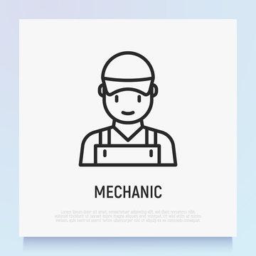 Mechanic, handyman or repairman avatar. Thin line icon. Modern vector illustration.