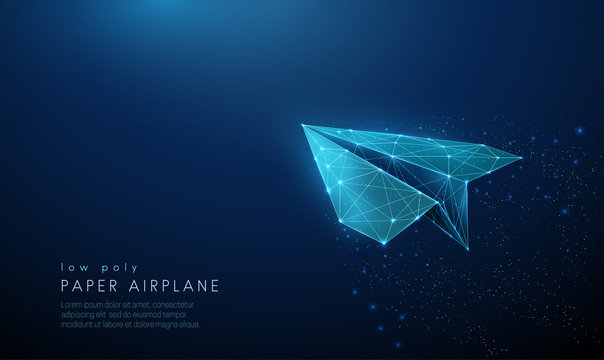 Paper air plane. Low poly style design.