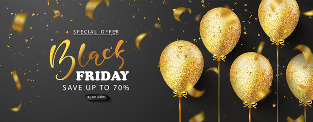 Black friday sale background with beautiful golden balloons and flying serpentine. Modern design.Universal vector background for poster, banners, flyers, card,advertising brochure Wall mural