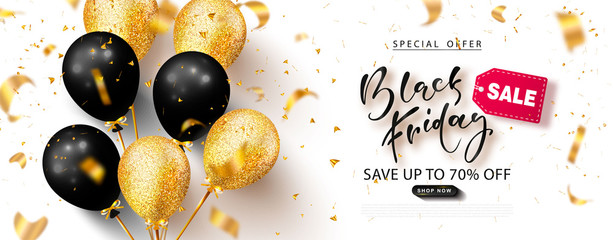 Black friday sale background with beautiful balloons and flying serpentine. Modern design.Universal vector background for poster, banners, flyers, card,advertising brochure