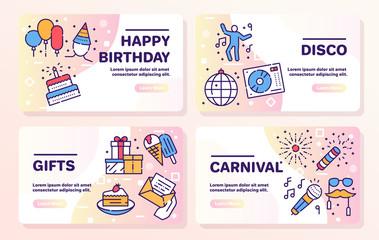 Fototapeta Birthday items color linear icons set