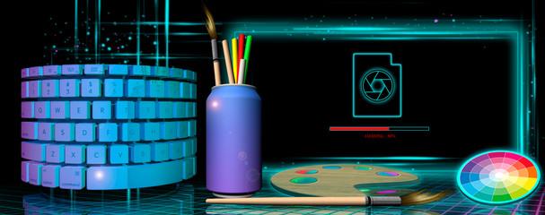 Ilustración 3d de edición de fotos en la computadora en un entorno moderno.