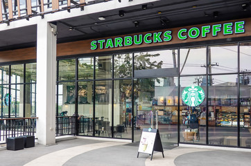 BANGKOK, THAILAND - APRIL 1, 2019: Starbucks Coffee brand inside Shopping Mall, Starbucks is one of the largest international coffee shop chain business worldwide.
