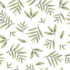green leaves branches and flowers, freehand drawing in pencil illustration, seamless pattern