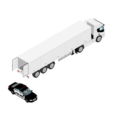 Police car stopped refrigerated cargo truck hauling goods. Isolated on white background isometric view.