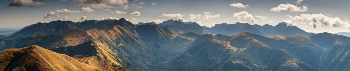 Beautiful autumn panorama landscape with a view of the Tatra Mountains Wall mural