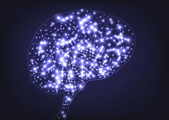 Concept de l'acticité cérébrale avec une image médicale qui montre la connection des neurones à l'intérieur d'un cerveau humain.