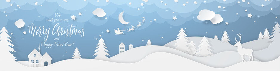 Winter landscape with deer paper cut-out and fir trees in snow. Festive horizontal banner with text Merry Christmas, Village and flying santa's sleigh in night sky with stars, snowfall and moon. Fotomurales