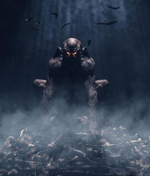 Monster sitting on pile of bones,3d illustration