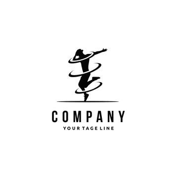 Let's dance logo design, fitness center, B boys dance, Hip Hop Dancing action graphic vector
