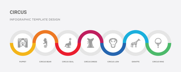 7 filled icon set with colorful infographic template included circus ring, giraffe, circus lion, circus dress, seal, bear, puppet icons