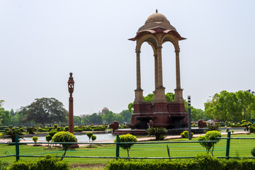 View on Canopy in vicinity near the Indian Gate side building of All India War Memorial Complex. New Delhi, India, Asia