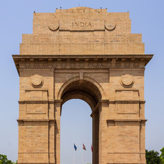 Detail view of India Gate. All India War Memorial Complex, New Delhi, India, Asia