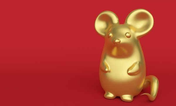 Golden rat on a red background. Greeting card with place for text. 3d rendering