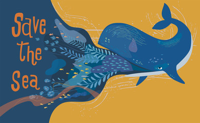 Design elements of whale and undersea plants with the letter Save the sea, Flat cartoon vector illustration in doodle style.