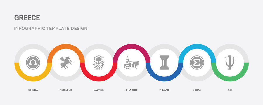 7 filled icon set with colorful infographic template included psi, sigma, pillar, chariot, laurel, pegasus, omega icons