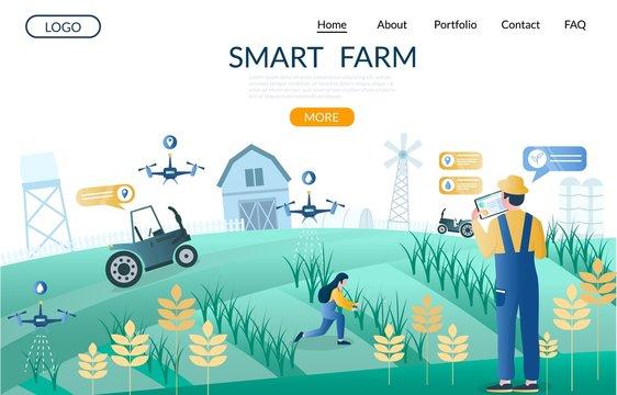 Smart farm vector website landing page design template