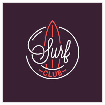 Surf club logo. Round linear logo of surfboard