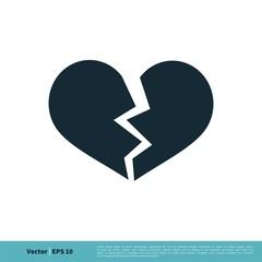 Broken Heart Icon Vector Logo Template Illustration Design. Vector EPS 10.