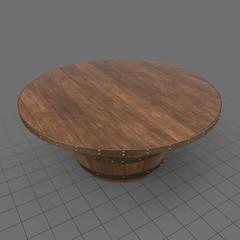 Wooden barrel coffee table